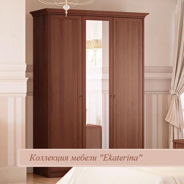 Шкаф 3-х дверный для платья и белья Ekaterina орех