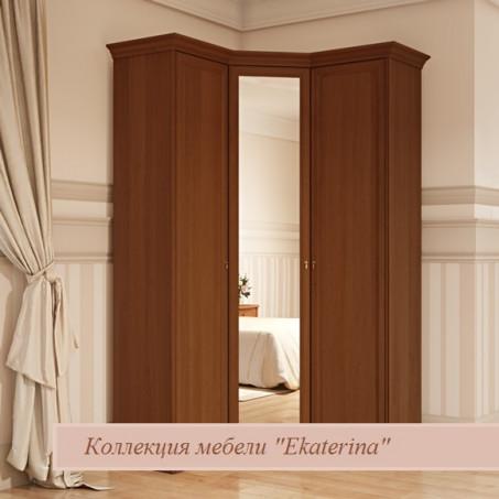 Шкаф угловой для платья и белья Екатерина орех