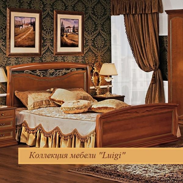 Двуспальная кровать с кованым элементом и гнутыми спинками орех 1600х2000