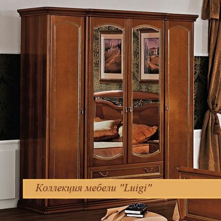 Шкаф четырехдверный с ящиками и зеркалами орех