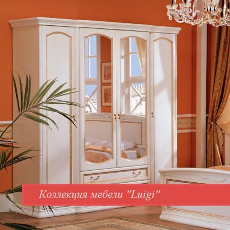 Шкаф четырехдверный с ящиками и зеркалами белая