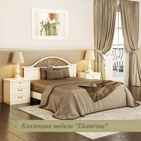 Кровать без ножной спинки с КЭ №2, цвет крем 1600х2000 код ЕКр4316