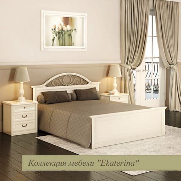Кровать с прямой ножной спинкой и КЭ №2, цвет крем 1600х2000 ЕКр4226