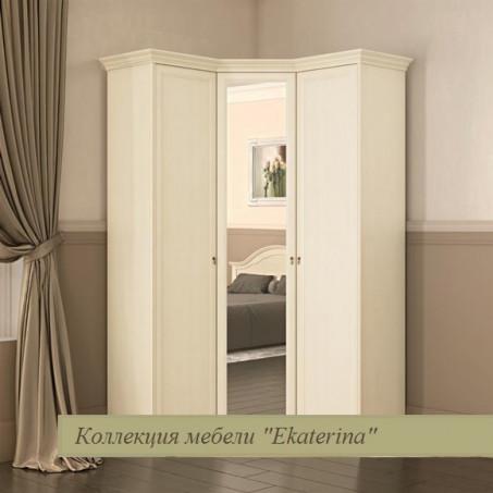 Шкаф угловой для платья и белья Екатерина крем