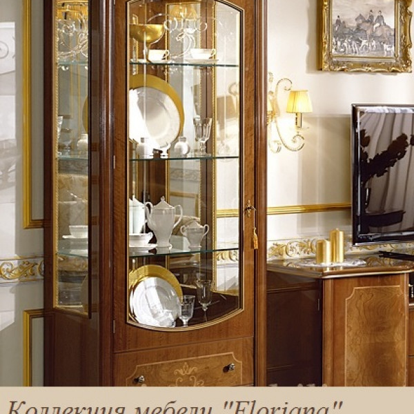"""Витрина однодверная ЛЕВАЯ орех """"Floriana"""""""